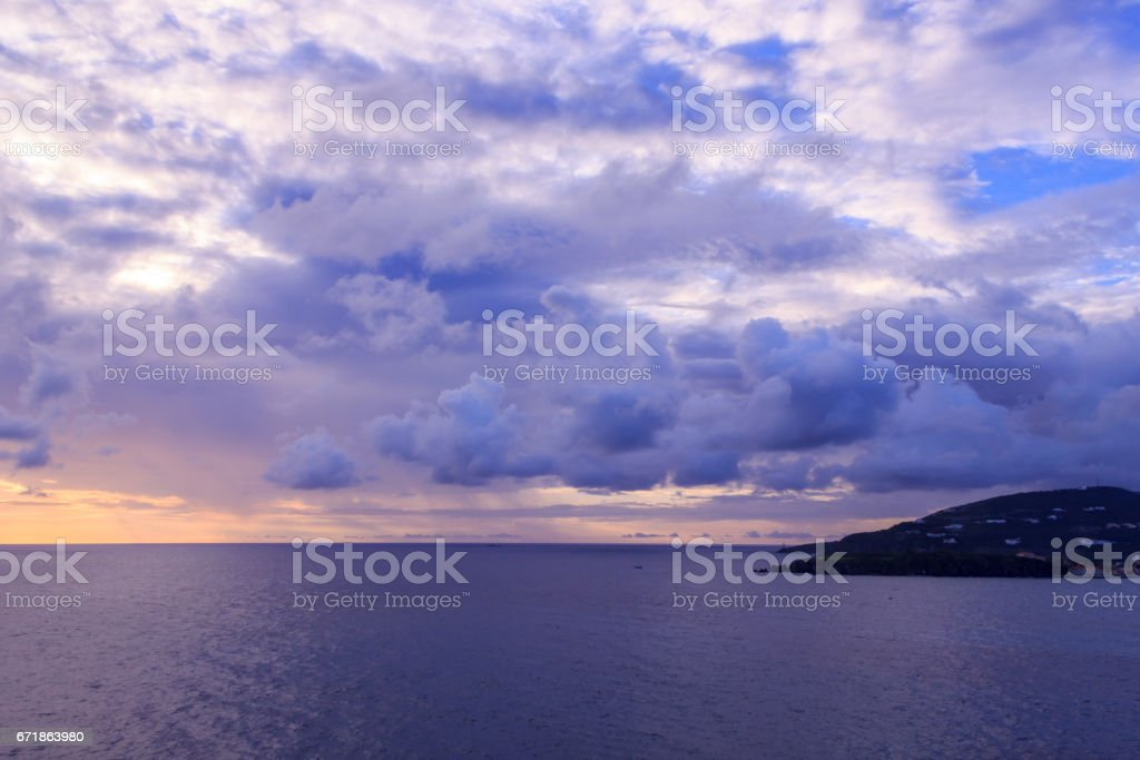Beautiful sunset in St Maarten near island in caribbean sea stock photo