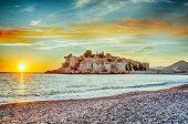Beautiful sunset in Sveti Stefan Island in Montenegro