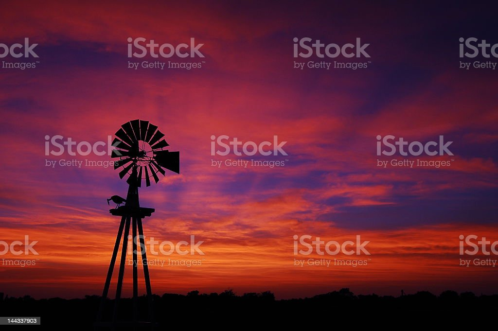A beautiful sunset in Texas on a farm stock photo