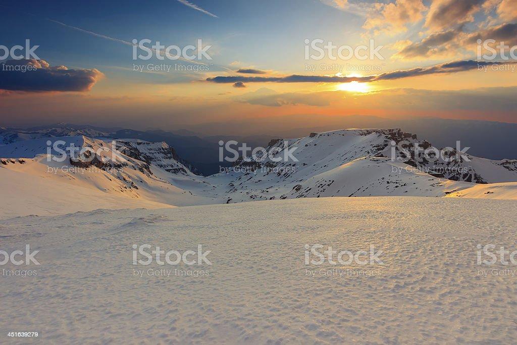 Beautiful sunset in the Bucegi mountains,Carpathians,Romania royalty-free stock photo