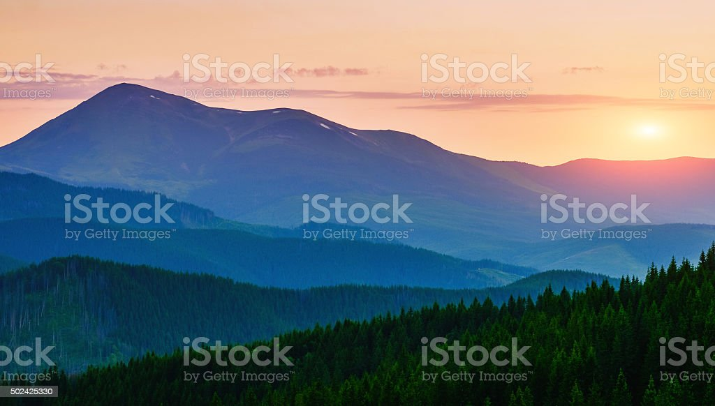 Beautiful sunset in the Carpathian Mountains Ukraine. stock photo