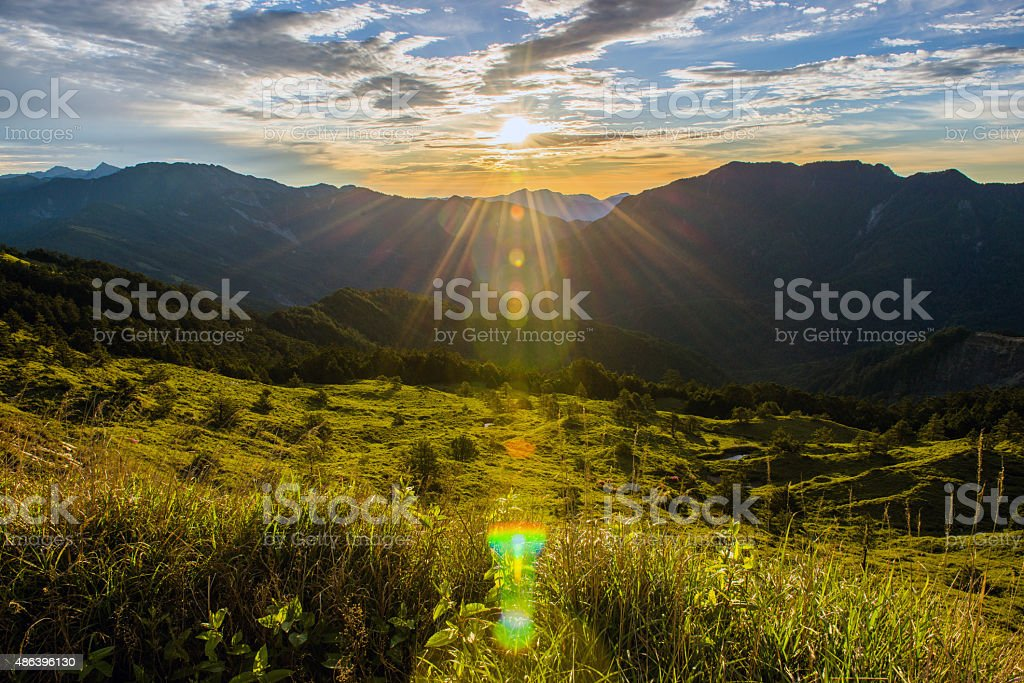 Beautiful sunset in the countryside stock photo