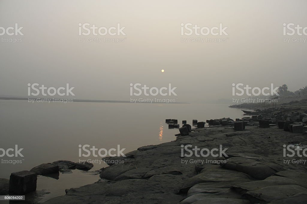 Beautiful sunset in the evening stock photo