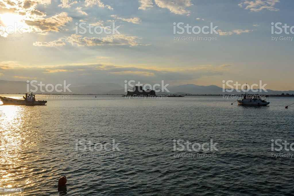 Beautiful sunset in the port of Nafplio, Greece stock photo