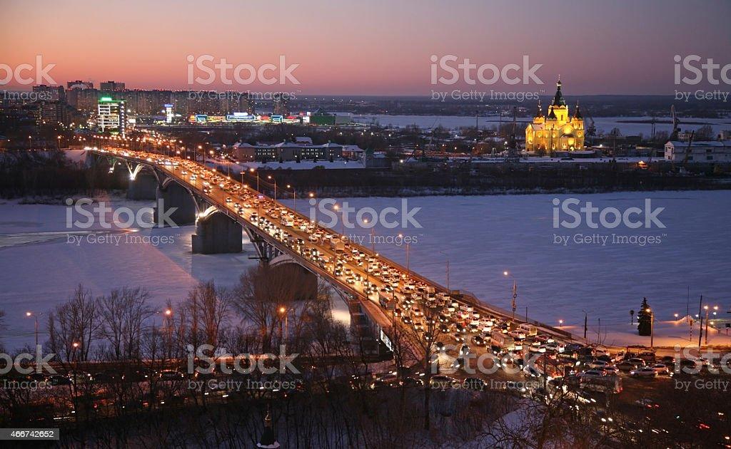 Beautiful sunset in winter Nizhny Novgorod stock photo