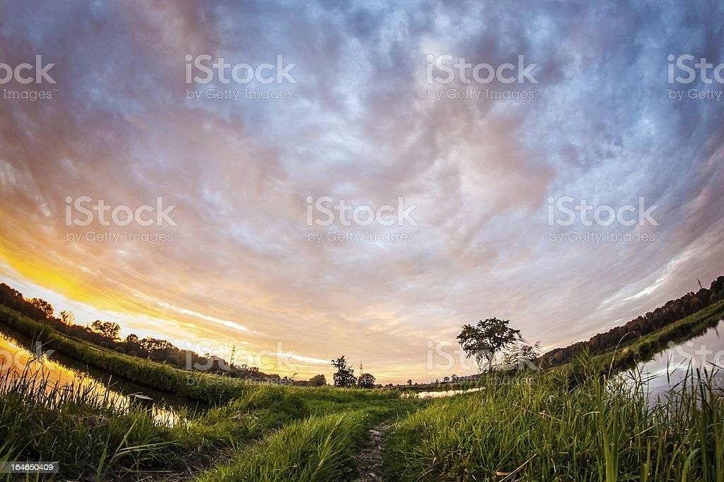 Beautiful sunset landscape royalty-free stock photo
