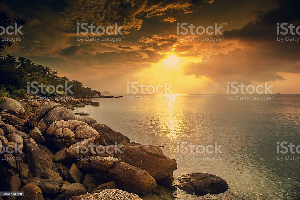 Beautiful sunset landscape with sea gangway stones stock photo