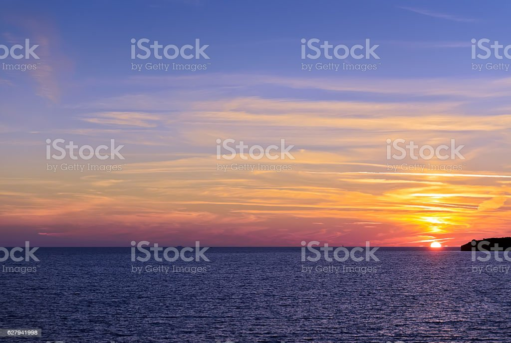 Beautiful sunset mediterranean stock photo