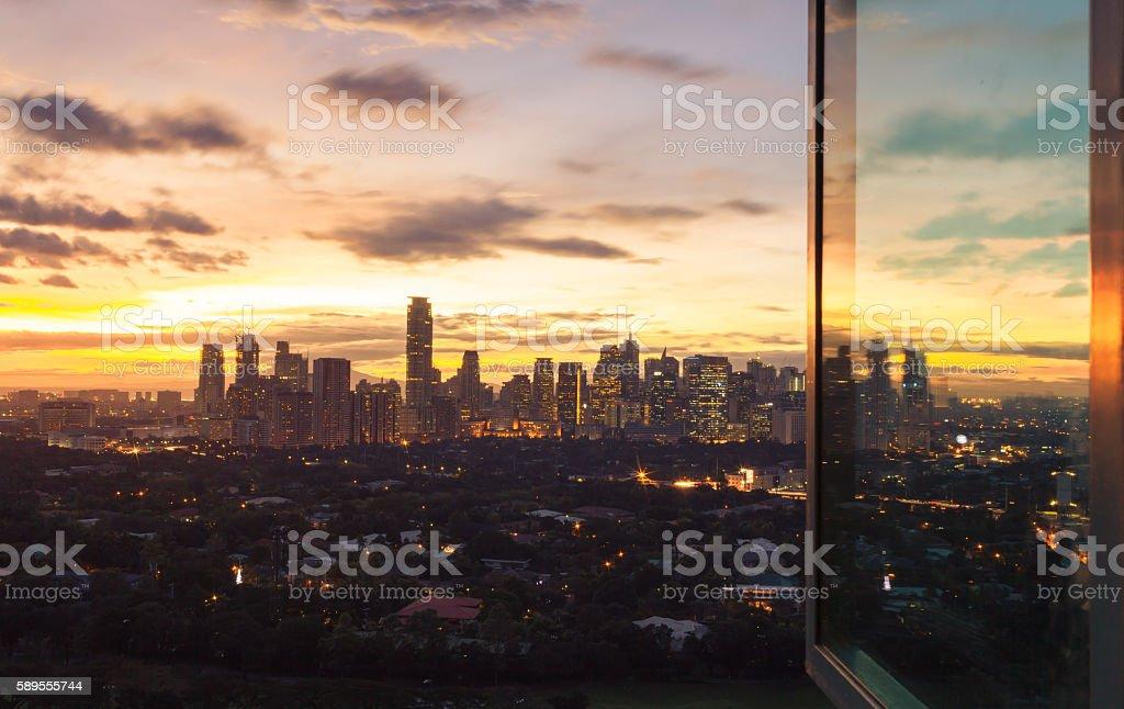 Beautiful sunset of Manila city stock photo