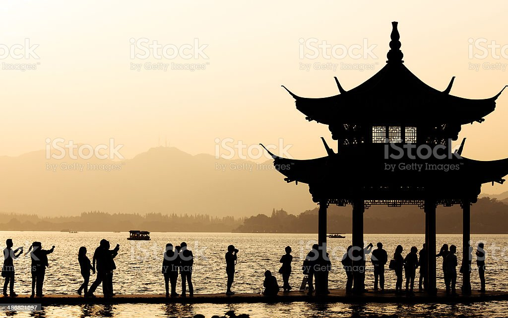 beautiful sunset of west lake royalty-free stock photo