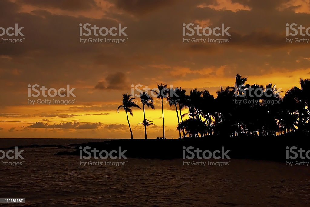 Beautiful sunset on Hawaii tropical beach royalty-free stock photo