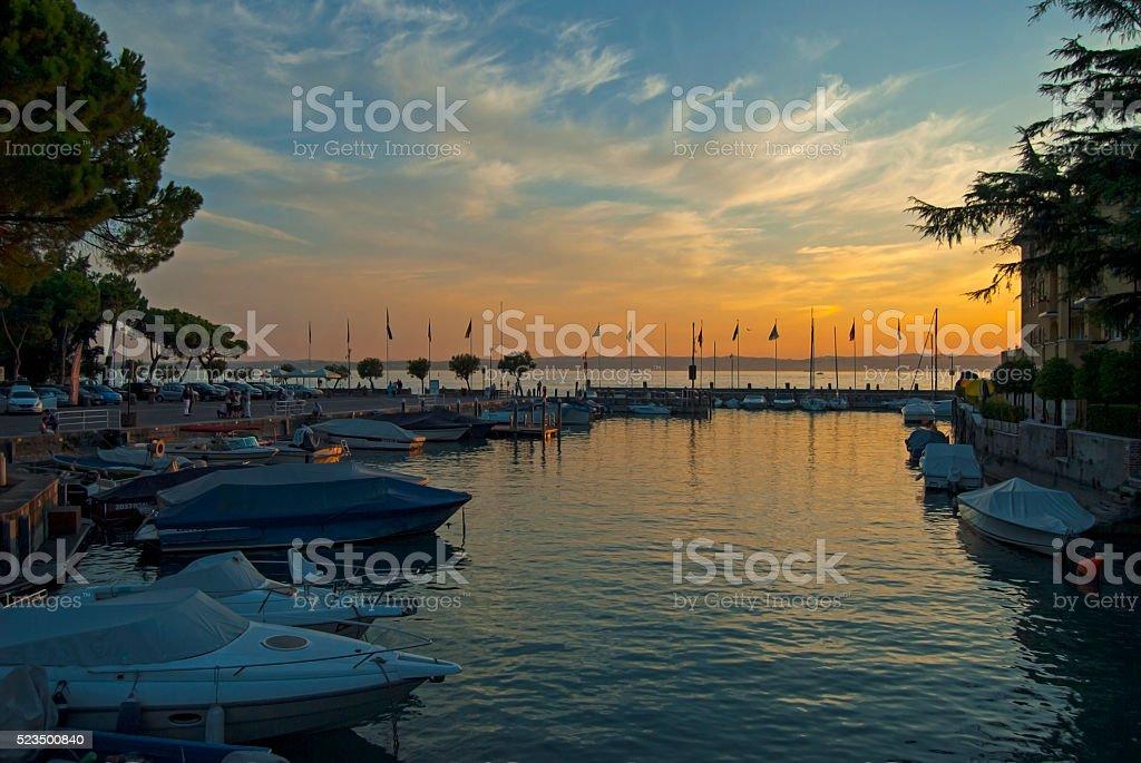 beautiful sunset on Lake Garda, Italy stock photo