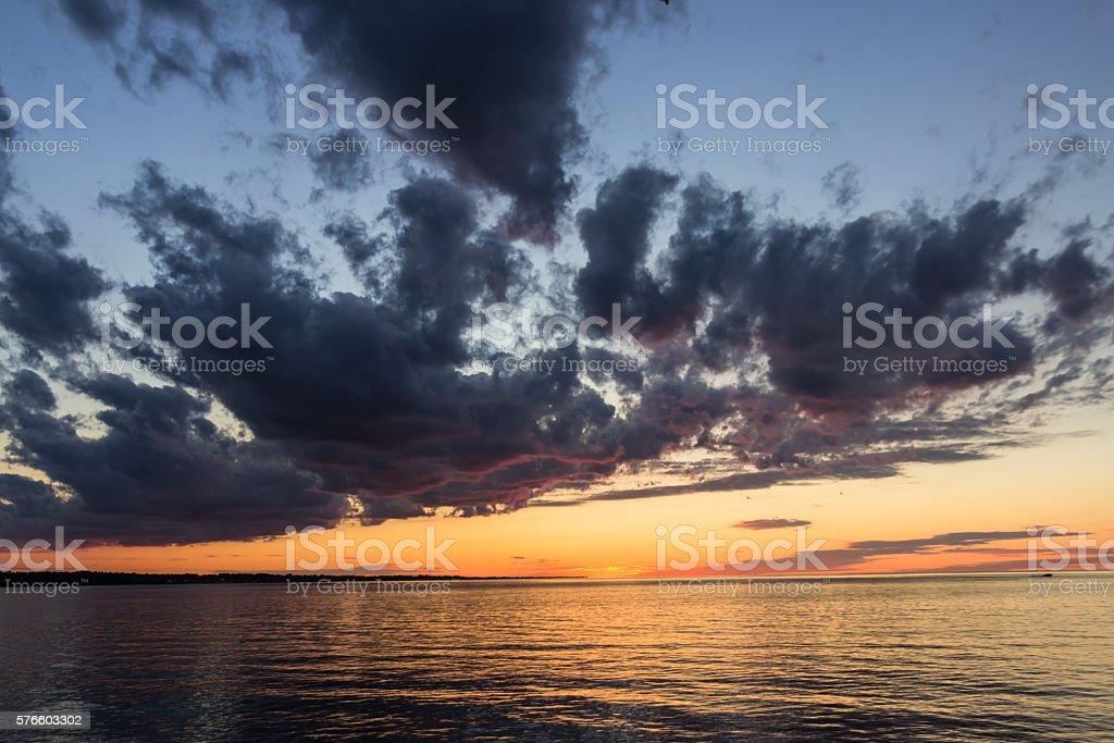 Beautiful sunset on Lake Ontario. Rochester, USA stock photo