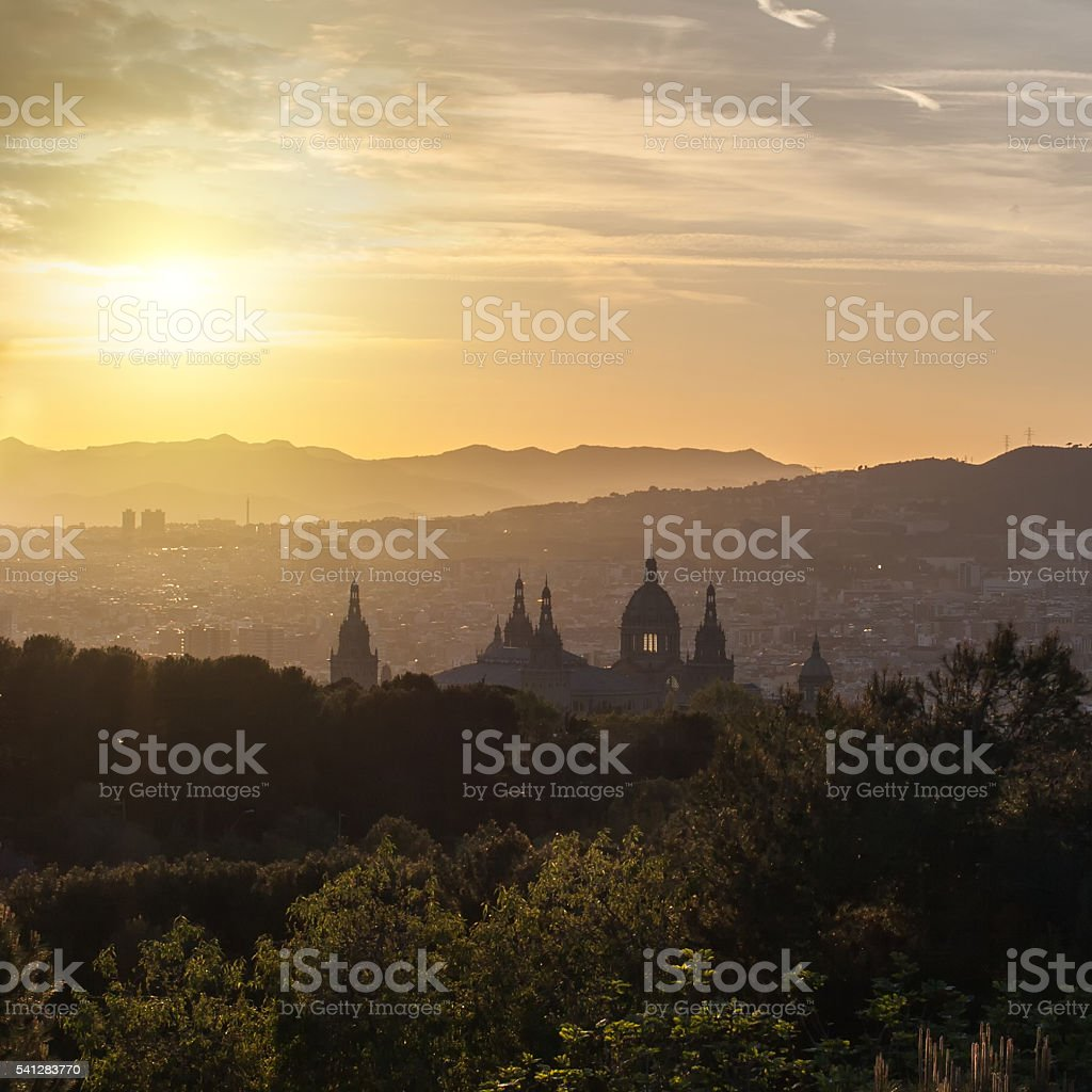 Beautiful sunset on National Museum in Barcelona stock photo