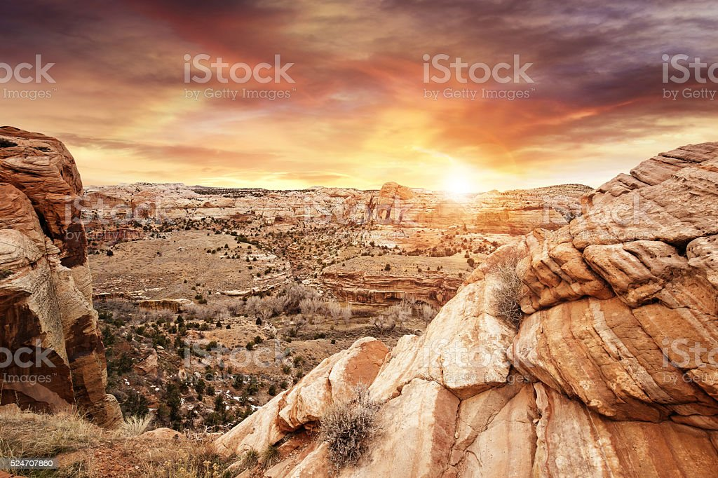beautiful sunset on rocky plateau, Utah stock photo