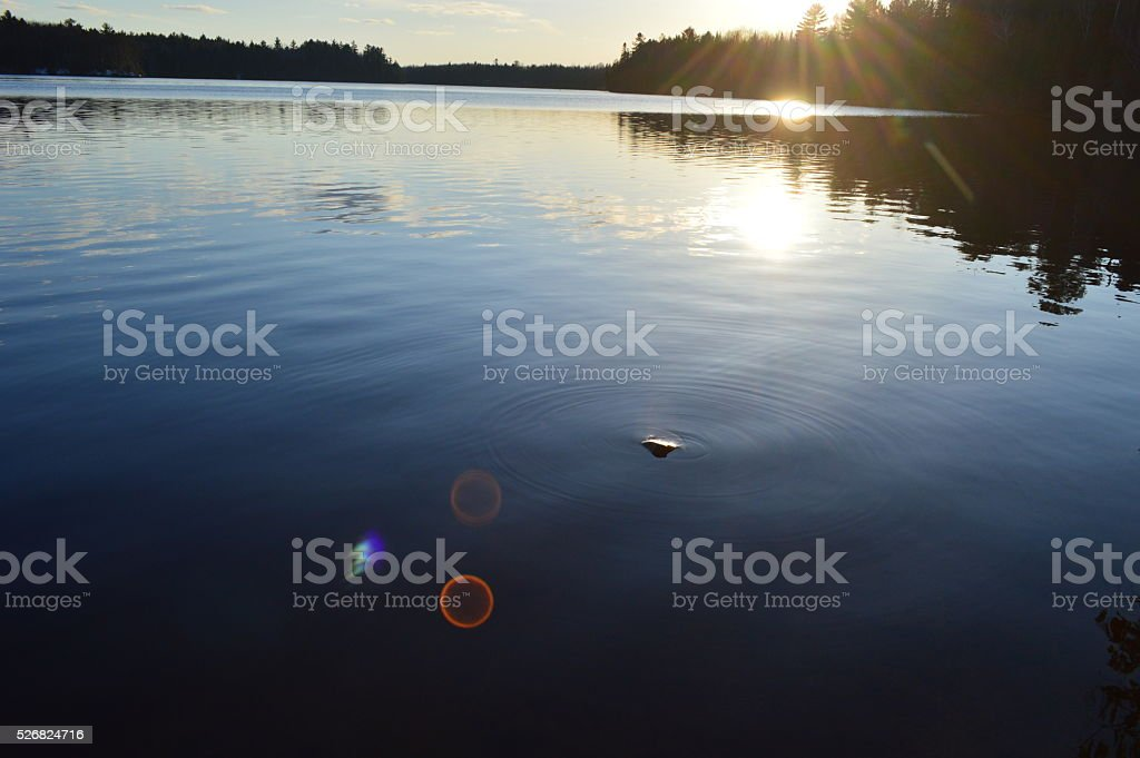 Beautiful sunset on the Ausable river stock photo