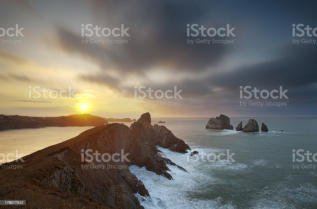 beautiful sunset on the cliffs of Liencres, Cantabria, Spain royalty-free stock photo
