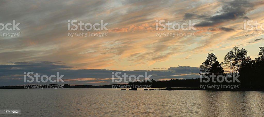 Beautiful sunset on the lake royalty-free stock photo