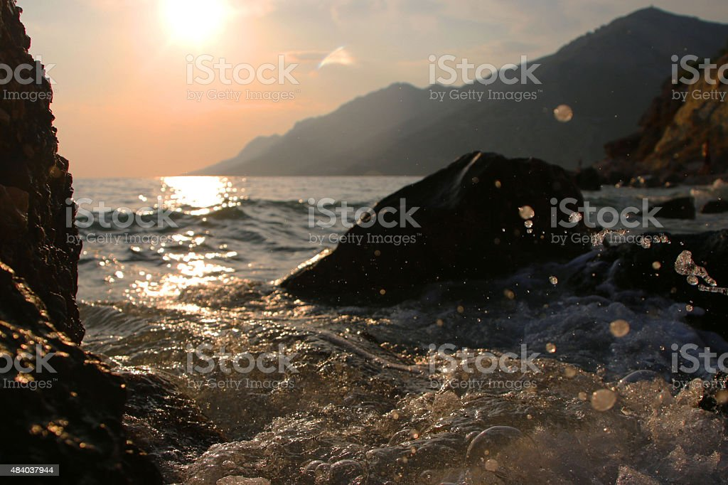 Beautiful sunset on the sea stock photo