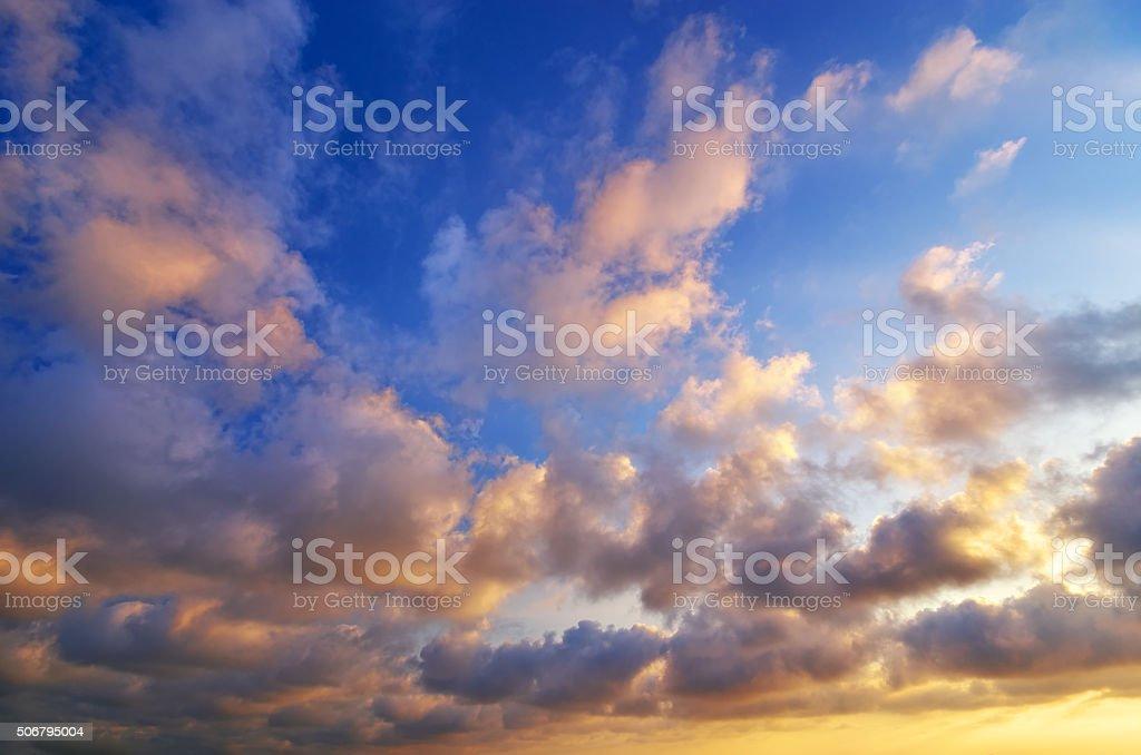 beautiful sunset on the sea. stock photo