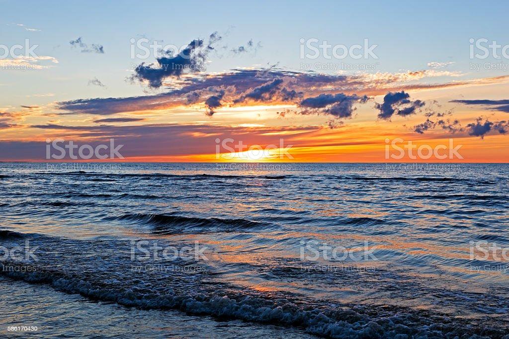 Beautiful Sunset Over Baltic Sea with cloud and beams, Jurmala stock photo