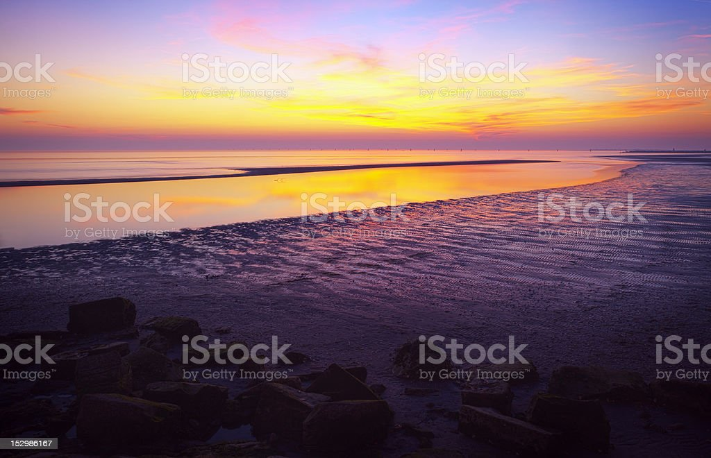 Beautiful Sunset Over Beach .Hdr Image. stock photo