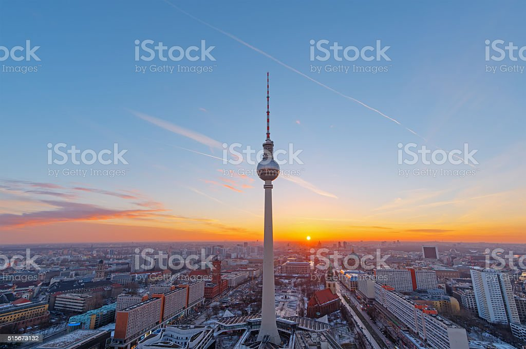 Beautiful sunset over Berlin stock photo