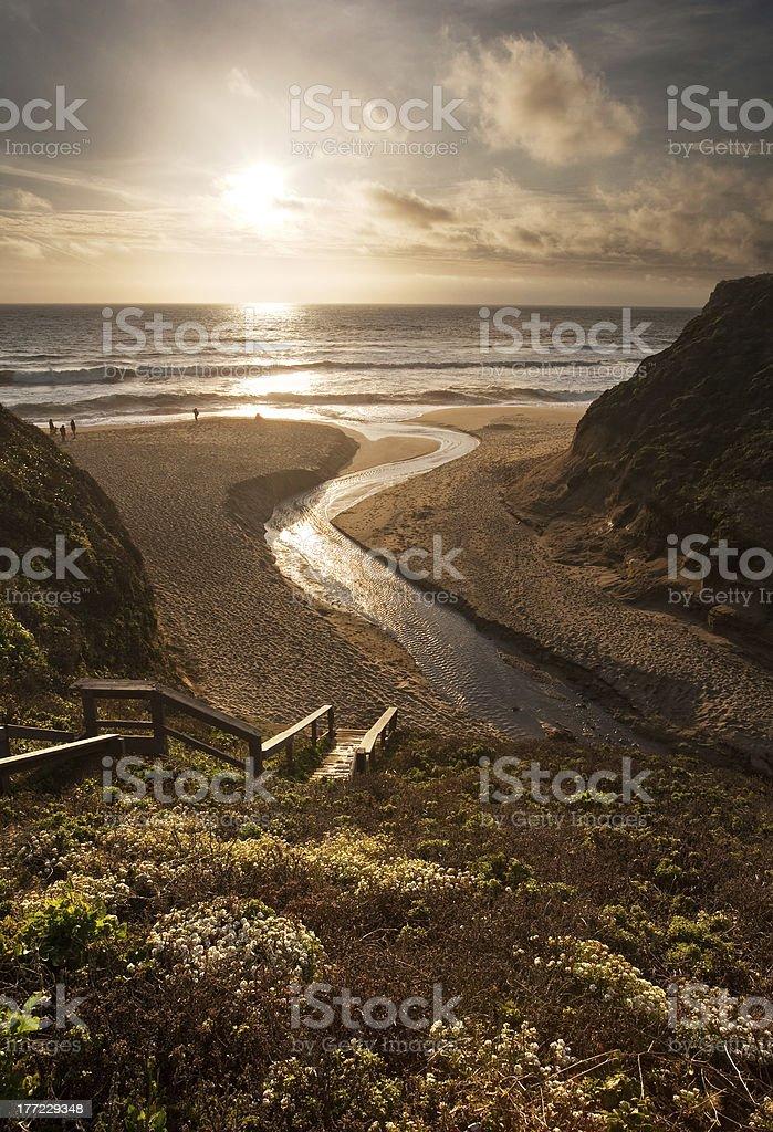 Beautiful sunset over California beach stock photo