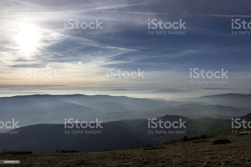 beautiful sunset over hills royalty-free stock photo