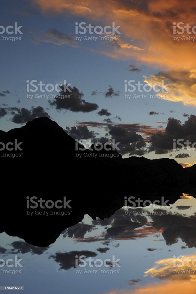 Beautiful sunset over lake royalty-free stock photo