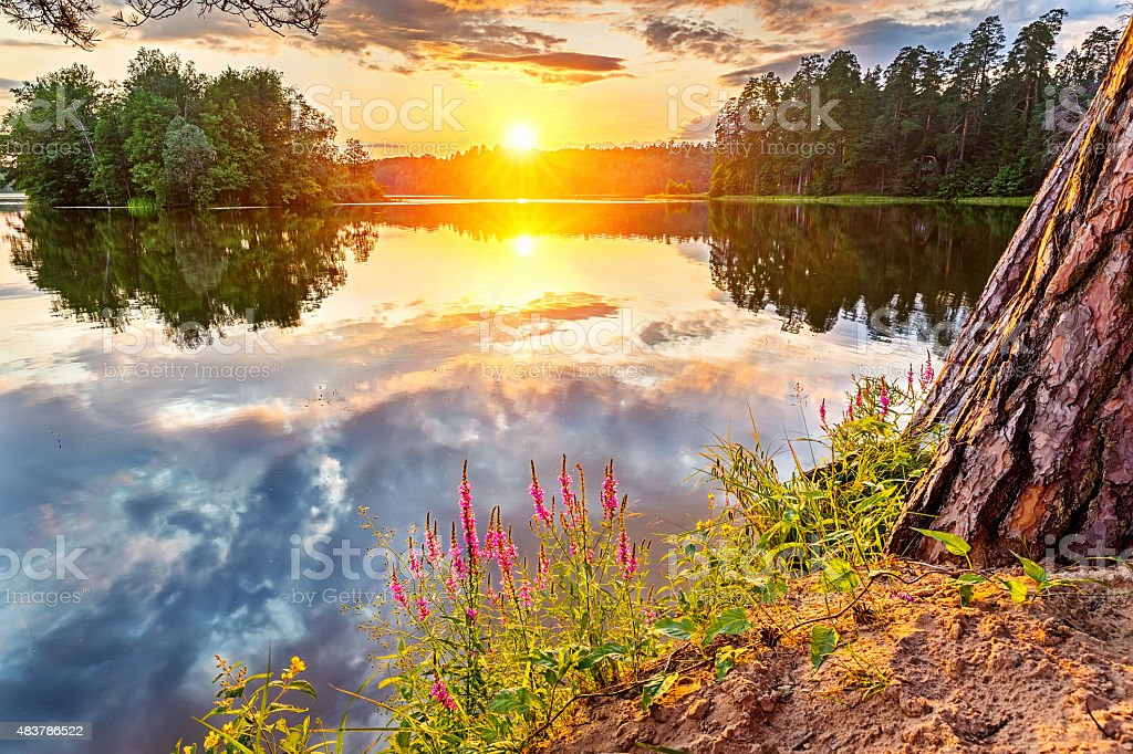 Beautiful sunset over lake stock photo