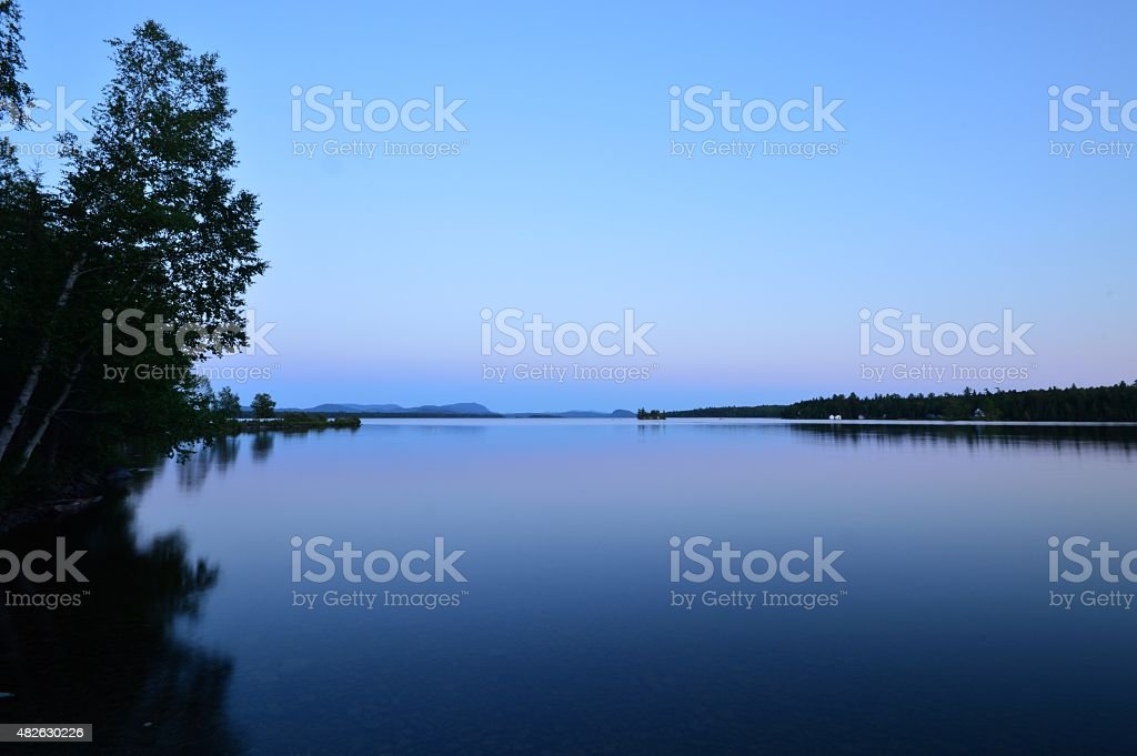 Beautiful Sunset Over Moosehead Lake stock photo