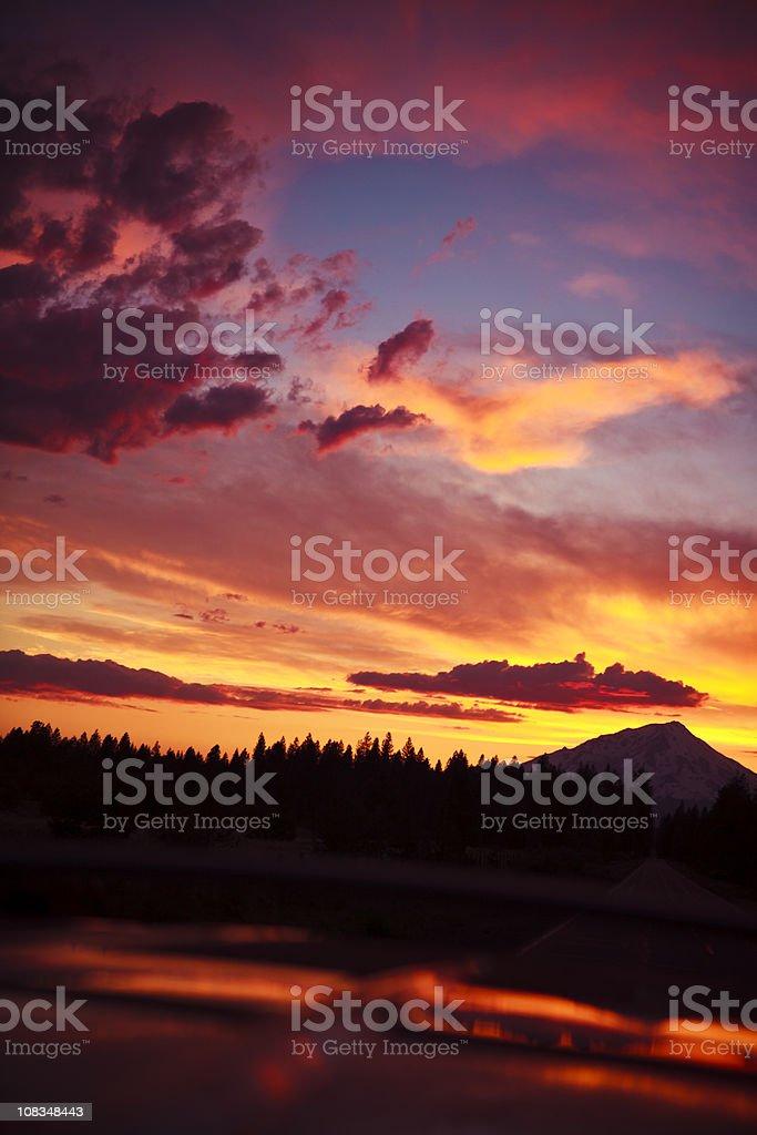 Beautiful Sunset over Mountain Shasta royalty-free stock photo