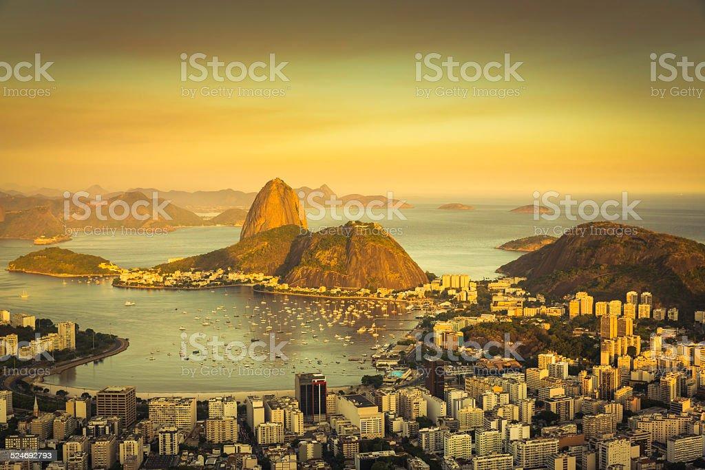 Beautiful sunset over Rio de Janeiro Botafogo Bay, Brazil stock photo