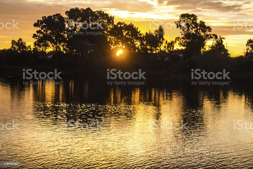 Beautiful sunset over River in Canelones stock photo