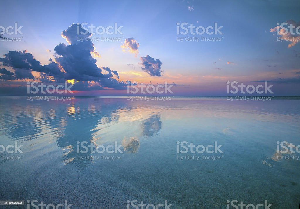 Beautiful sunset over sea royalty-free stock photo