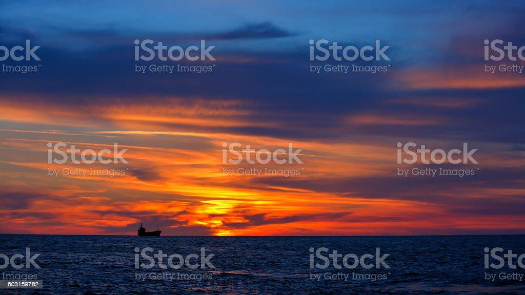 Beautiful sunset over sea stock photo
