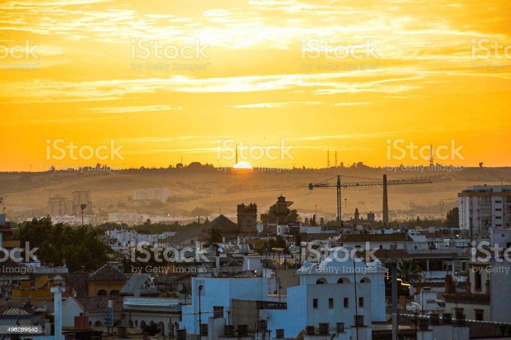 Beautiful sunset over Seville, Spain stock photo