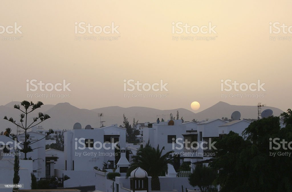 beautiful sunset over spanish town royalty-free stock photo