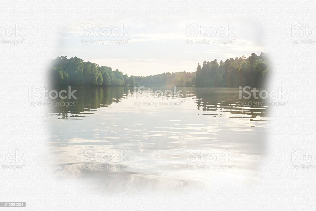 Beautiful sunset over surface of the lake. stock photo