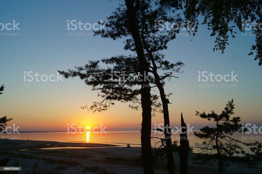 Beautiful Sunset over the Baltic at Jurmala, Latvia. stock photo