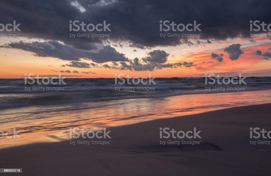 Beautiful sunset over the baltic sea stock photo