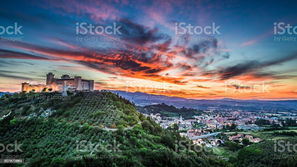 Beautiful sunset over the castle in Spoleto, Italy, Umbria stock photo