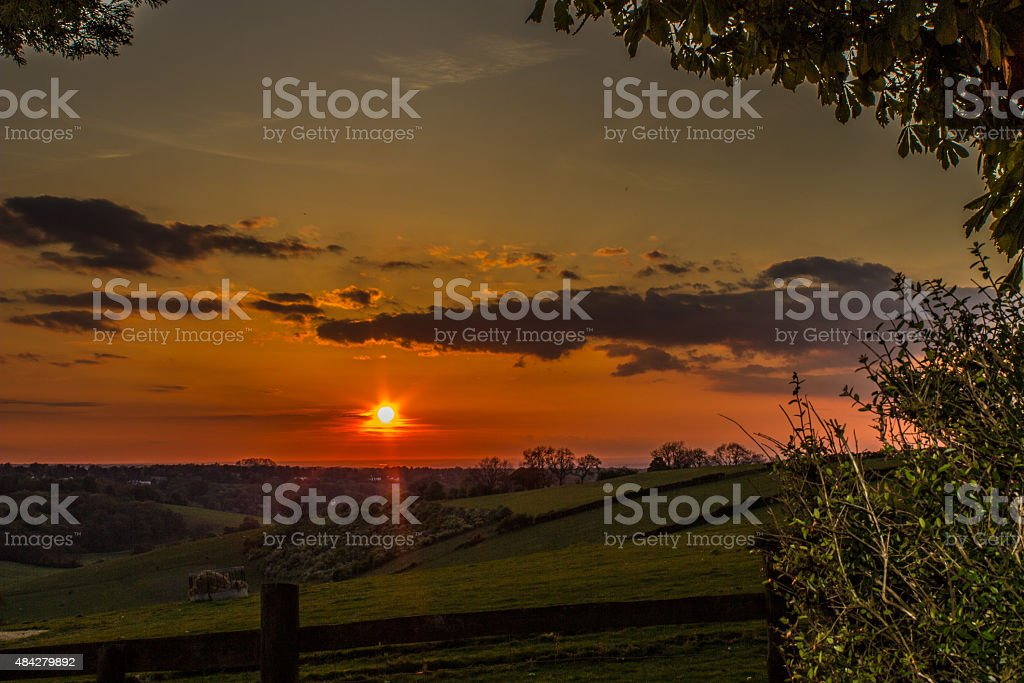 Beautiful sunset over the Surrey hills stock photo