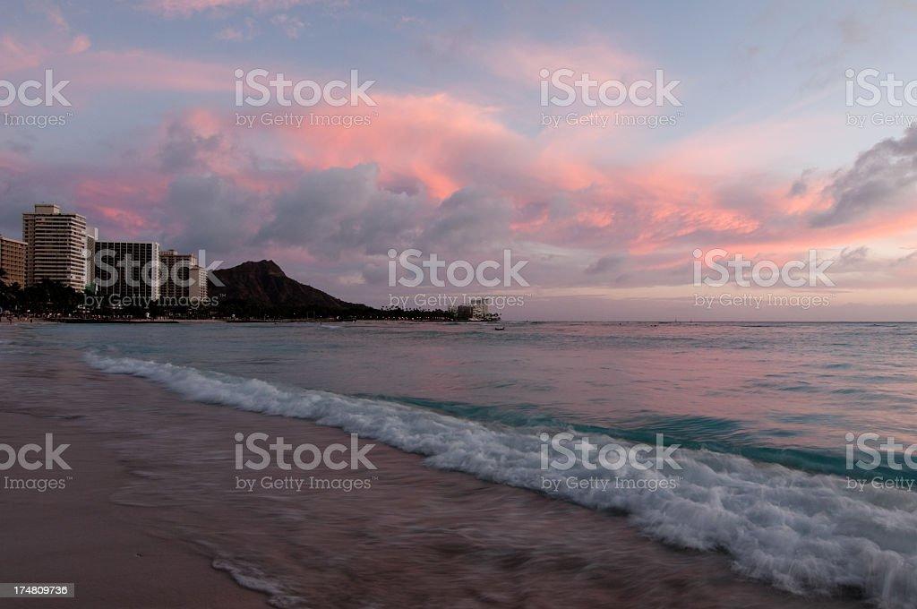 Beautiful Sunset over Waikiki Beach royalty-free stock photo