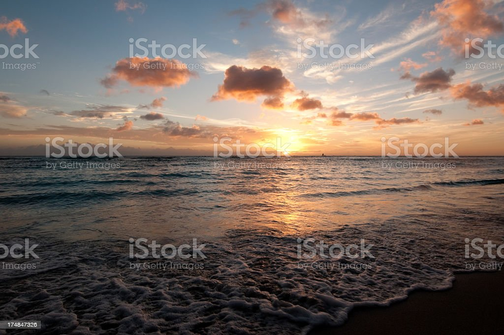 Beautiful Sunset over Waikiki Beach royalty-free stock photo