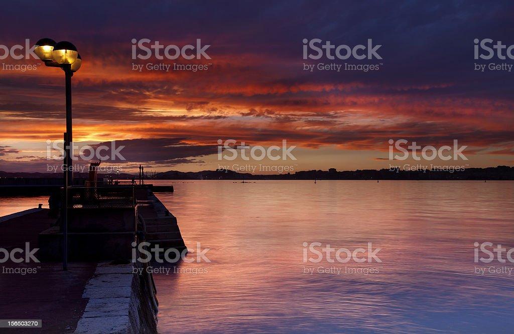 Beautiful sunset (Bay of Santander,Spain) royalty-free stock photo