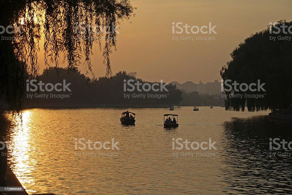 Beautiful sunset (Beihai park, Beijing) royalty-free stock photo