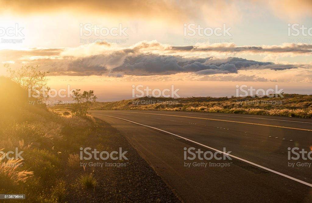 Beautiful Sunset Road stock photo
