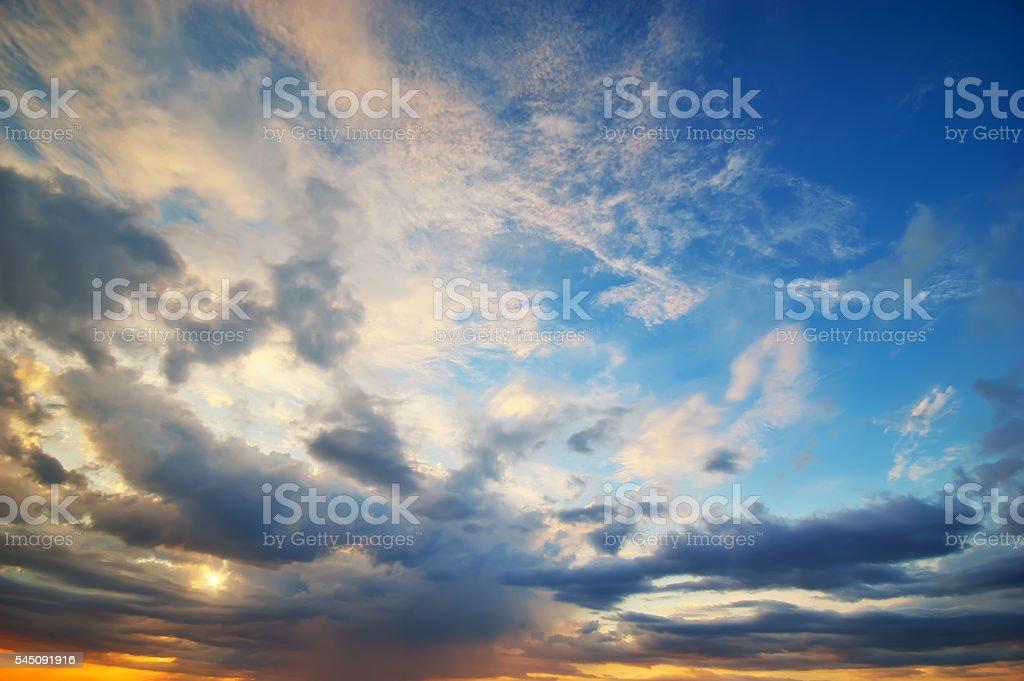 beautiful sunset sky and clouds. stock photo